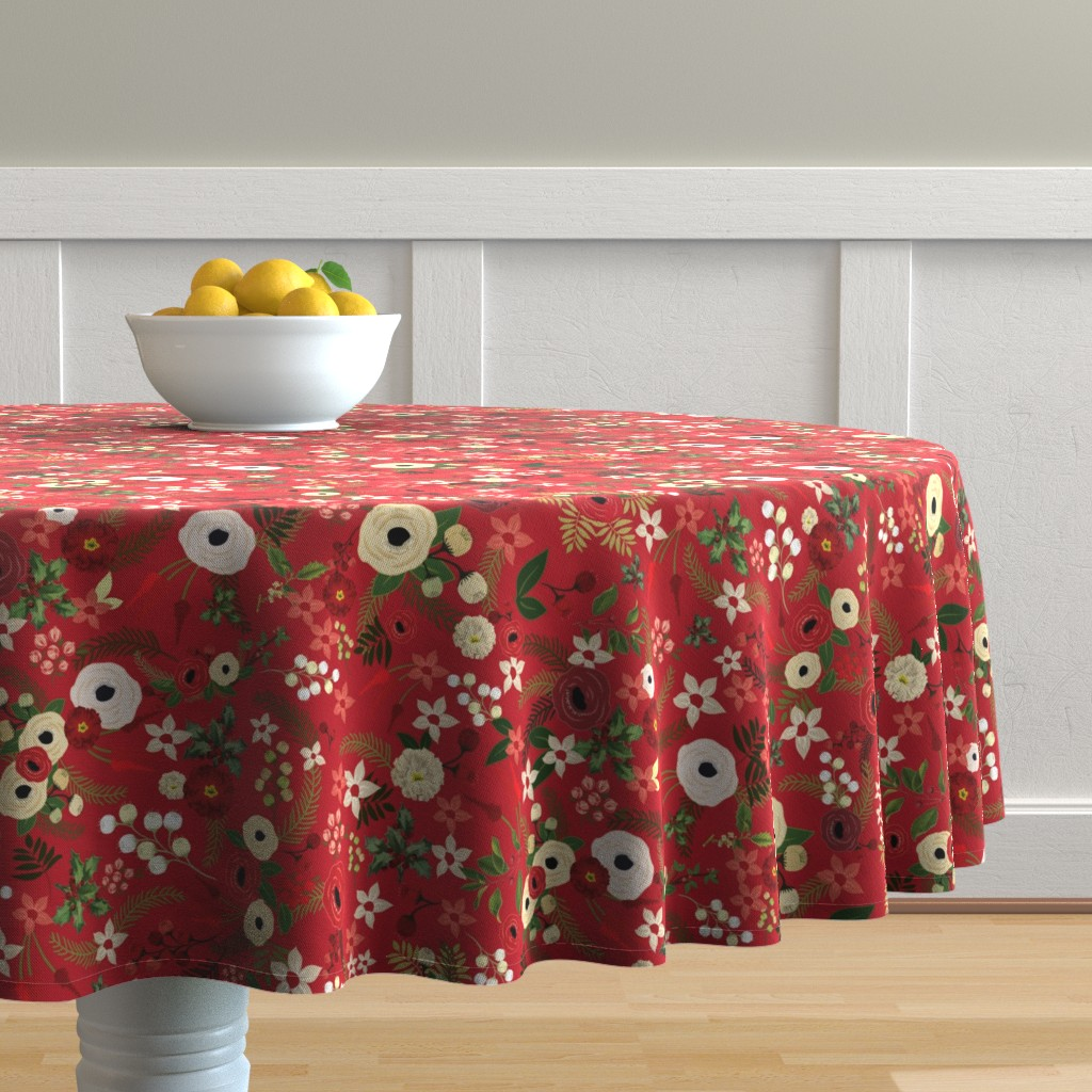 Malay Round Tablecloth featuring Vintage Christmas Floral Red  by twodreamsshop