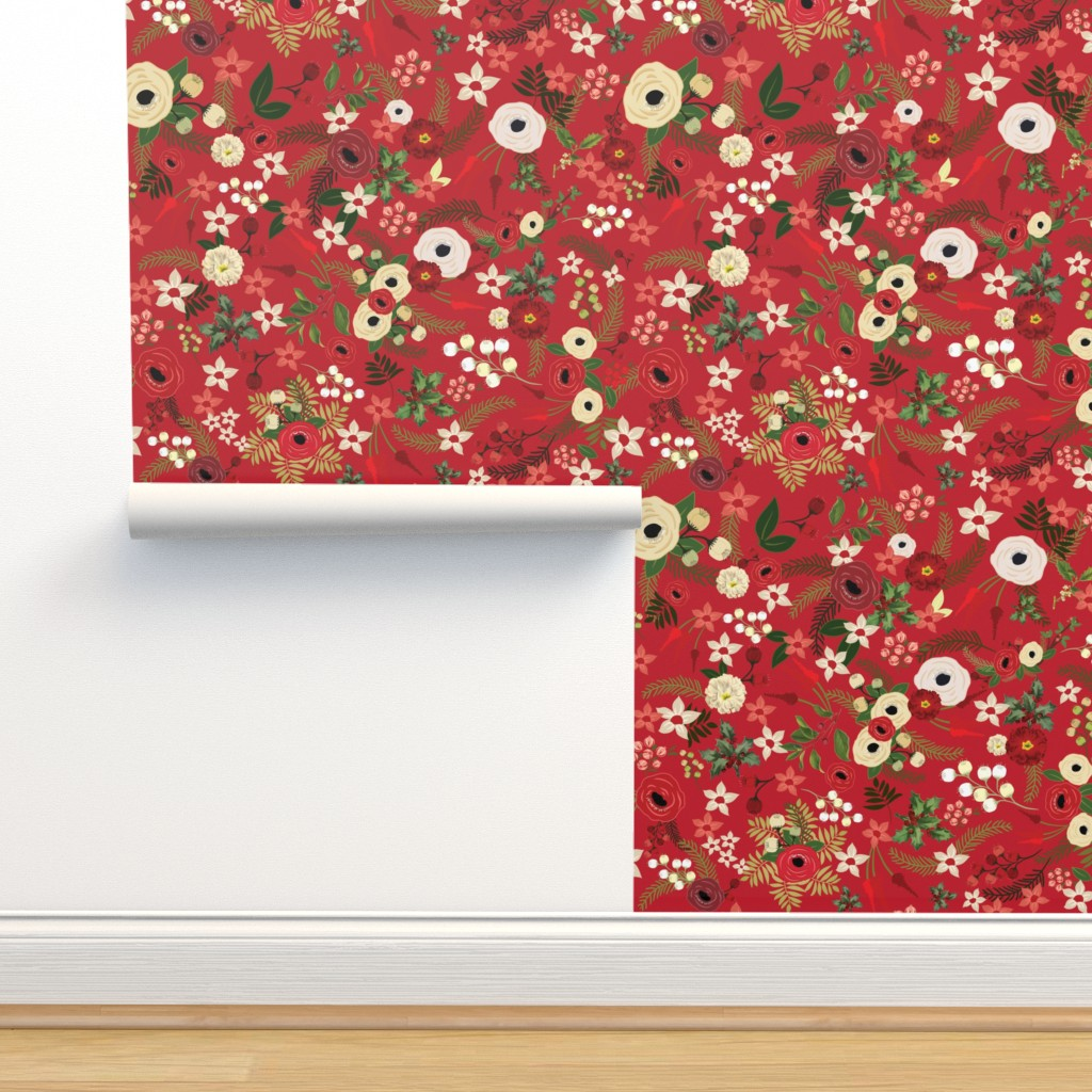 Isobar Durable Wallpaper featuring Vintage Christmas Floral Red  by twodreamsshop