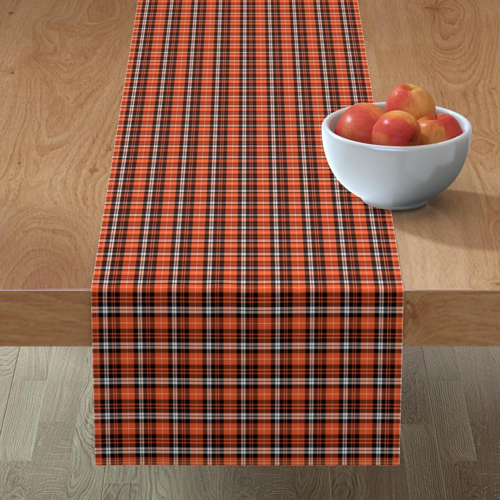 Minorca Table Runner featuring (micro print) pumpkin fall plaid    orange,black,white by littlearrowdesign