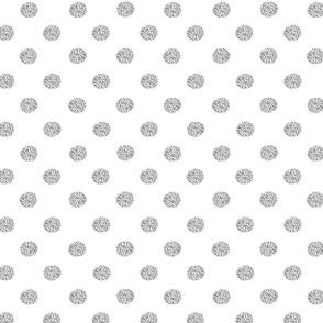 Polka dot  gray on white