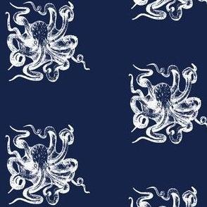 White octopus on navy sea creature boys room powder room nautical
