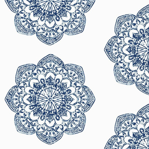Indian Block Print Medallion Fabric Navy Blue