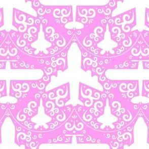 Aircraft Damask (Pink and White)