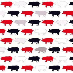 Pigs Red and Black on White Upholstery Fabric