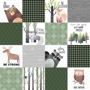 Woodland Critters Patchwork Quilt - Bear Moose Fox Raccoon Wolf, Forest Green Design GingerLous