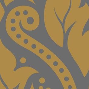 Decorative Damask Pattern Black White Gold Gray