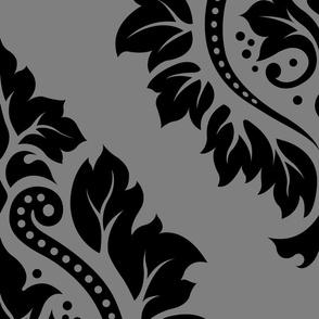 Decorative Damask Pattern Black on Gray