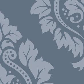 Decorative Damask Pattern Lt on Mid Blue