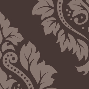 Decorative Damask Pattern Taupe on Brown