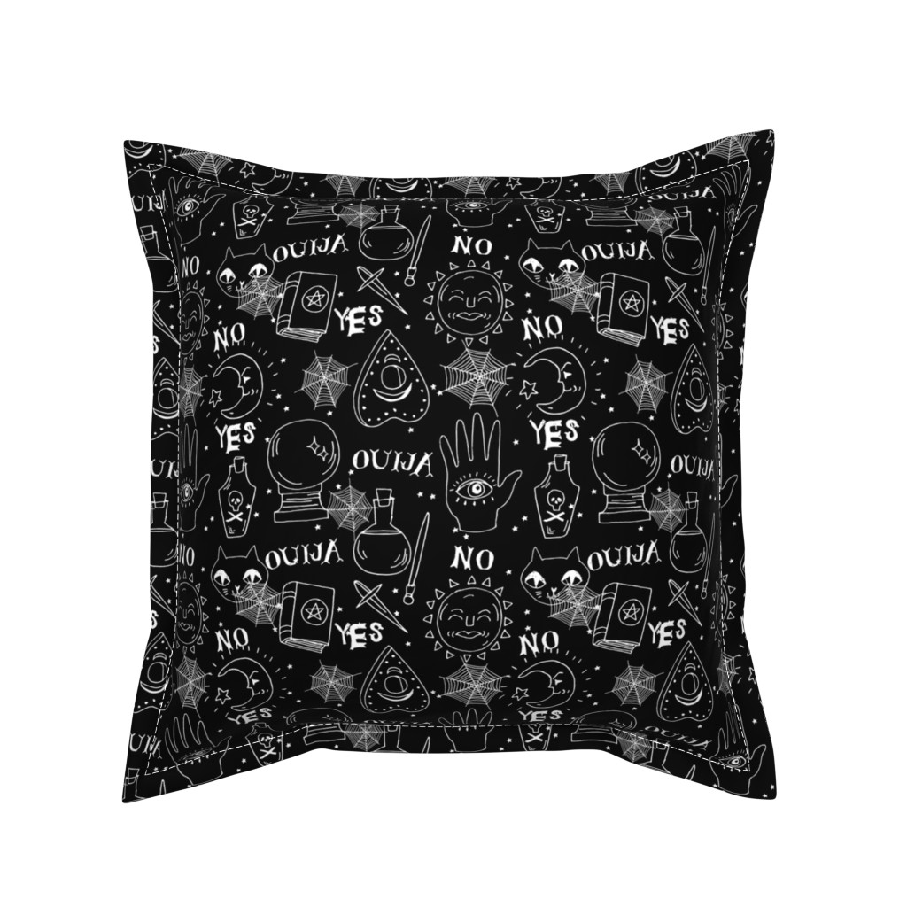 Serama Throw Pillow featuring Ouija cute halloween pattern october fall themed fabric black and white print by andrea lauren by andrea_lauren