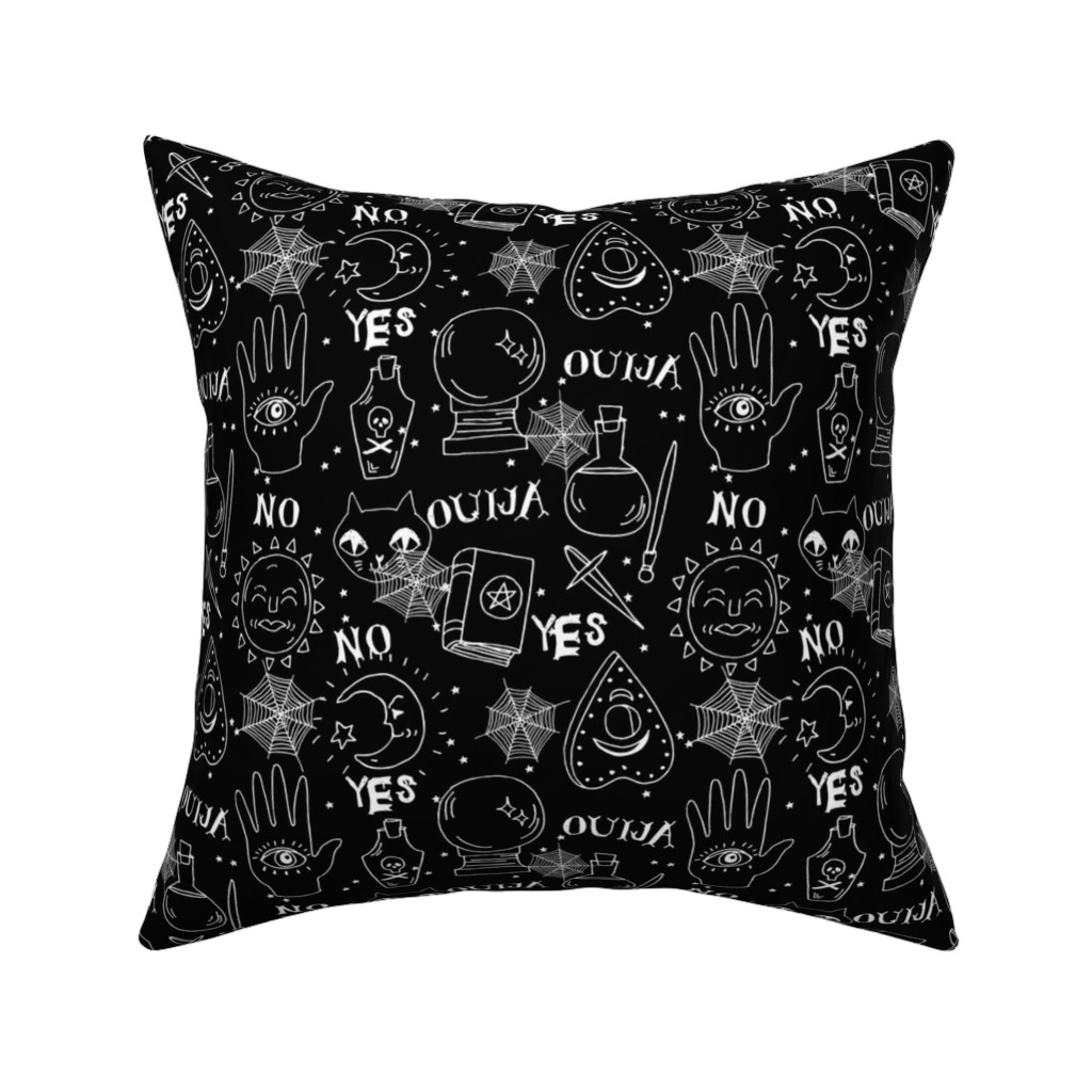 Catalan Throw Pillow featuring Ouija cute halloween pattern october fall themed fabric black and white print by andrea lauren by andrea_lauren