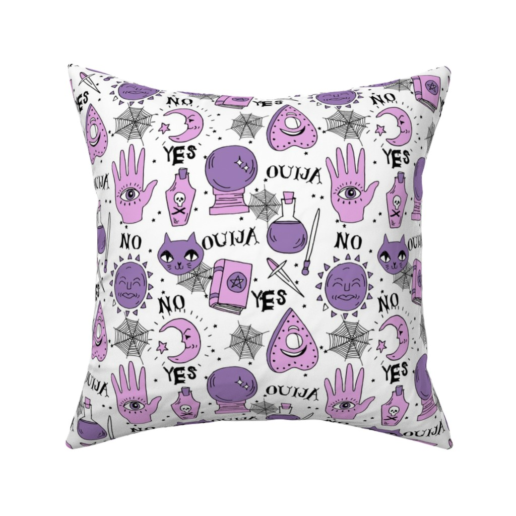 Catalan Throw Pillow featuring Ouija cute halloween pattern october fall themed fabric print white purple by andrea lauren by andrea_lauren