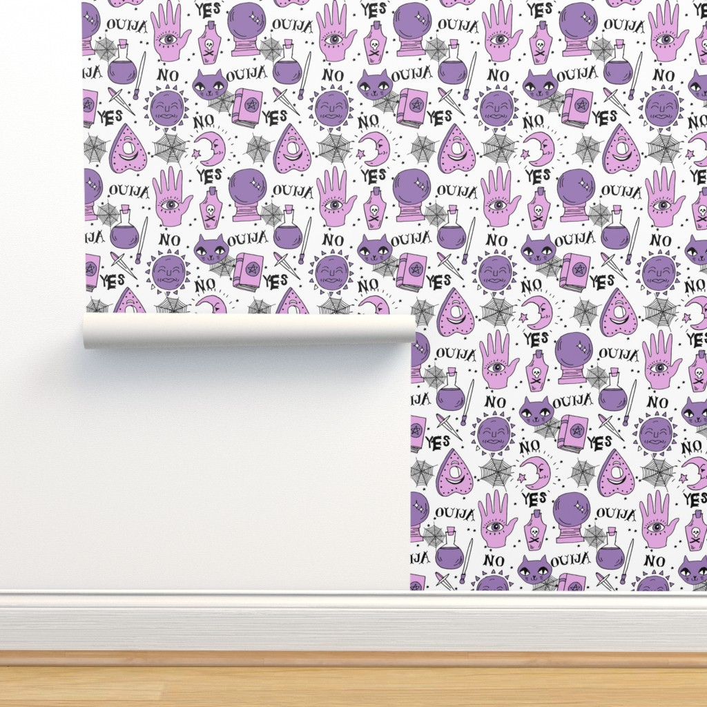 Isobar Durable Wallpaper featuring Ouija cute halloween pattern october fall themed fabric print white purple by andrea lauren by andrea_lauren