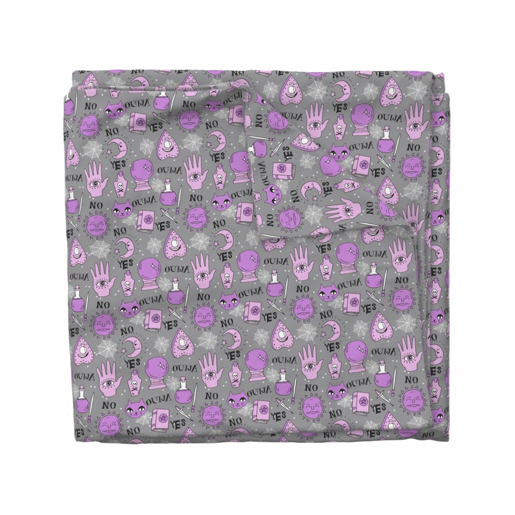 Wyandotte Duvet Cover featuring Ouija cute halloween pattern october fall themed fabric print grey purple by andrea lauren by andrea_lauren