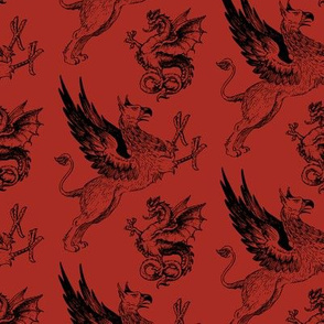 griffin and dragon red - potter's world