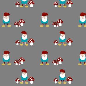 Gnomes and mushrooms on grey