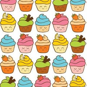 rainbow of happy cupcakes