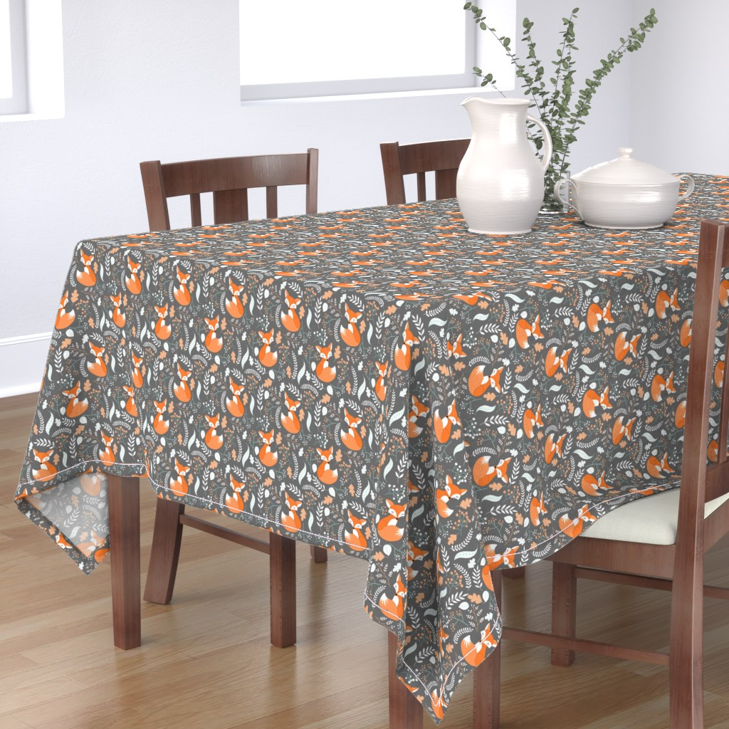 Bantam Rectangular Tablecloth featuring Fox - Sleepy Foxes (grey stone) Baby Nursery Woodland Animals Kids Childrens Bedding by gingerlous