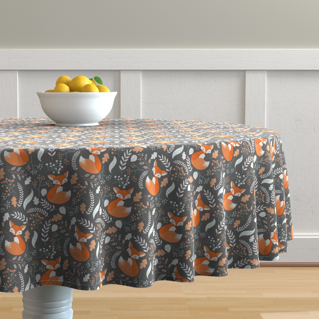 Malay Round Tablecloth featuring Fox - Sleepy Foxes (grey stone) Baby Nursery Woodland Animals Kids Childrens Bedding ST2 by gingerlous