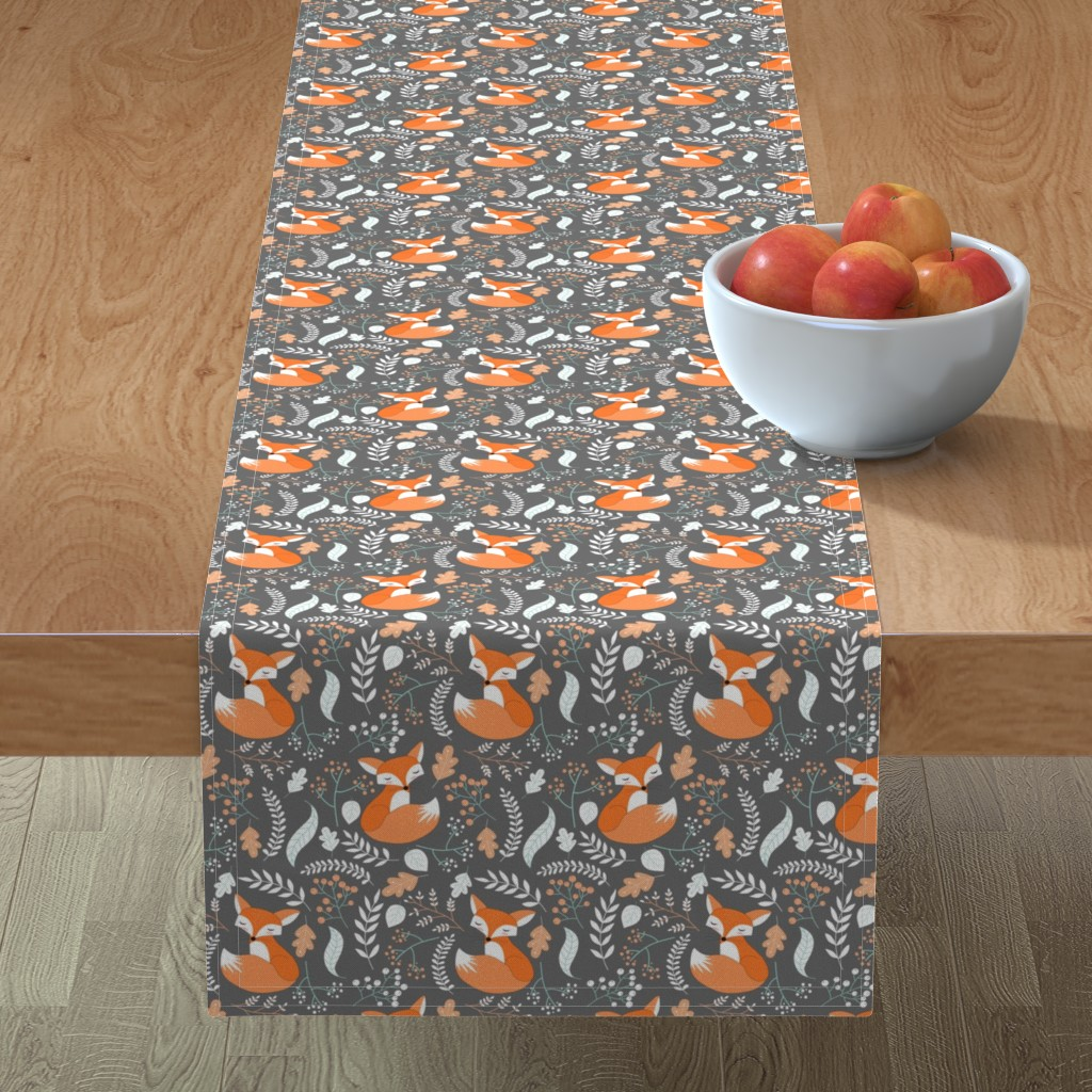 Minorca Table Runner featuring Fox - Sleepy Foxes (grey stone) Baby Nursery Woodland Animals Kids Childrens Bedding ST2 by gingerlous