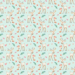 TINY Sweet Deer & Fox (soft mint) - Woodland Animals Flowers Baby Girl Nursery Bedding