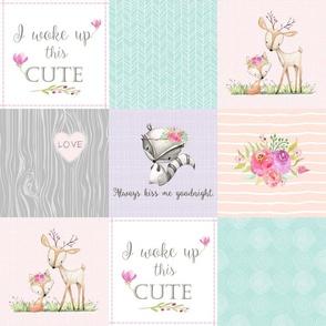 Cute Woodland Patchwork Quilt - Deer Fox Raccoon Cheater Quilt - Pink Peach + Mint Nursery Ginger Lous