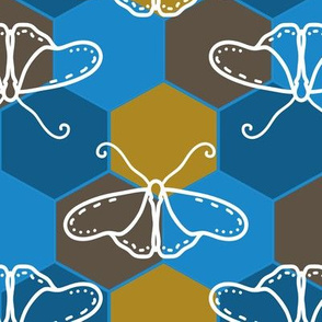 Butterfly Blueprint - 02 - Blue and Brown