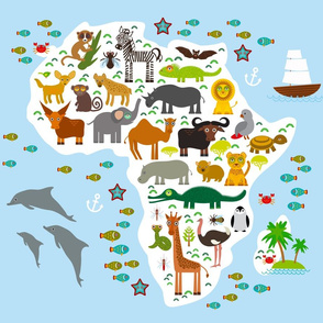 Animal Africa. Map blanket Size Fat Quarter (21x18)