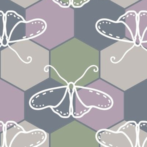 Butterfly Blueprint - 03 - Green Mauve Gray Oyster