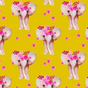 Sweet indian summer bohemian watercolor elephant love  yellow mustard