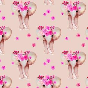 Sweet indian summer bohemian watercolor elephant love beige