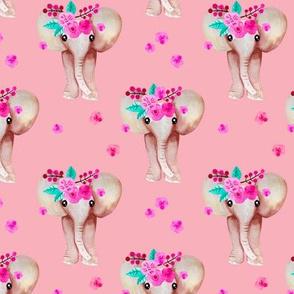 Sweet indian summer bohemian watercolor elephant love pink