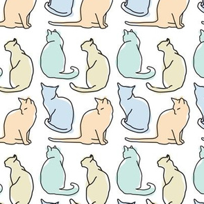 Black Cat Outlines with Silhouettes in Pastels