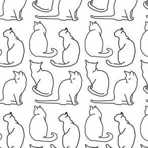 Cat Outline Silhouettes in White, Animal Drawing, Household Pets, Felines