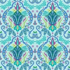 Mod Floral Damask Deco Turquoise Teal