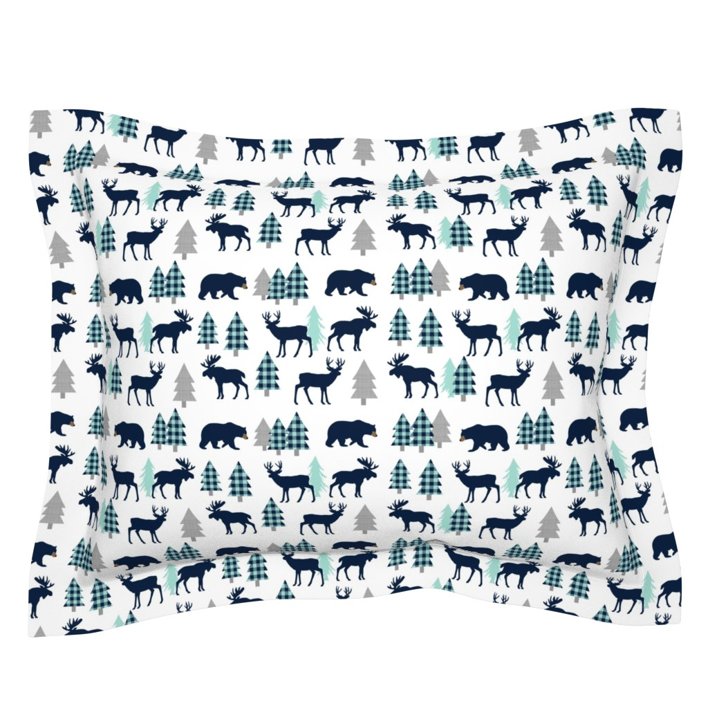 Sebright Pillow Sham featuring Woodland Animals - Navy + Mint Buffalo Plaid Baby Nursery Kids Children Baby Boy Bedding by gingerlous