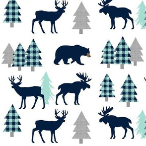 Woodland Animals - Navy + Mint Buffalo Plaid Baby Nursery Kids Children Baby Boy Bedding
