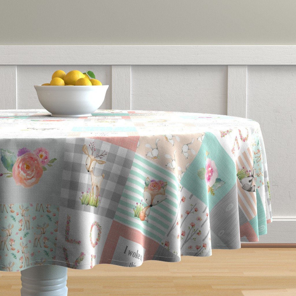 Malay Round Tablecloth featuring Woodland Animals Baby Girl Quilt Top - Deer Fox Raccoon Patchwork Wholecloth Baby Blanket Gray Mint Peach  by gingerlous