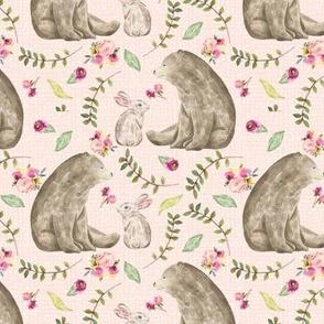 Bear & Bunny Friends (pink texture) - Floral Woodland Baby Girls Nursery Bedding GingerLous B
