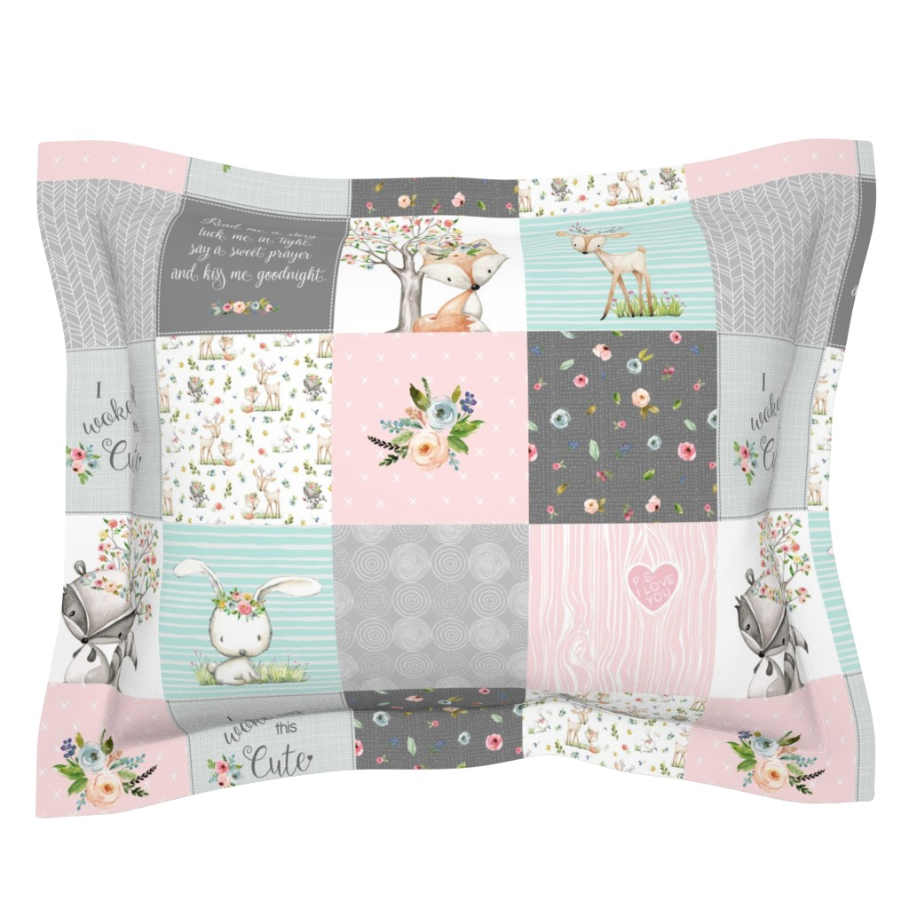 Sebright Pillow Sham featuring Woodland Friends Nursery Patchwork Quilt - I Woke Up This Cute Wholecloth Deer Fox Raccoon Bunny (Grey Pink) GingerLous by gingerlous