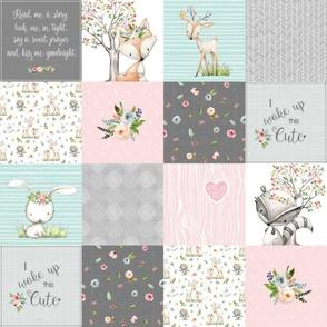 Woodland Friends Nursery Patchwork Quilt - I Woke Up This Cute Wholecloth Deer Fox Raccoon Bunny (Grey Pink) GingerLous