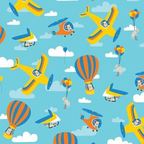flying squirrels on deep blue