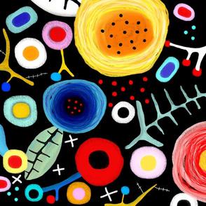 Black Poppies Fabric 2017