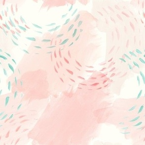 (small scale) watercolor abstract - mermaid coordinate (peach and light aqua)