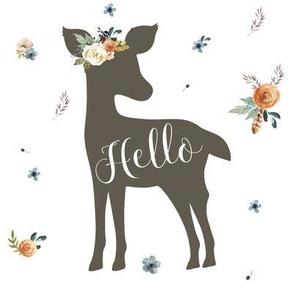 """8"""" Western Autumn Hello Deer / white"""