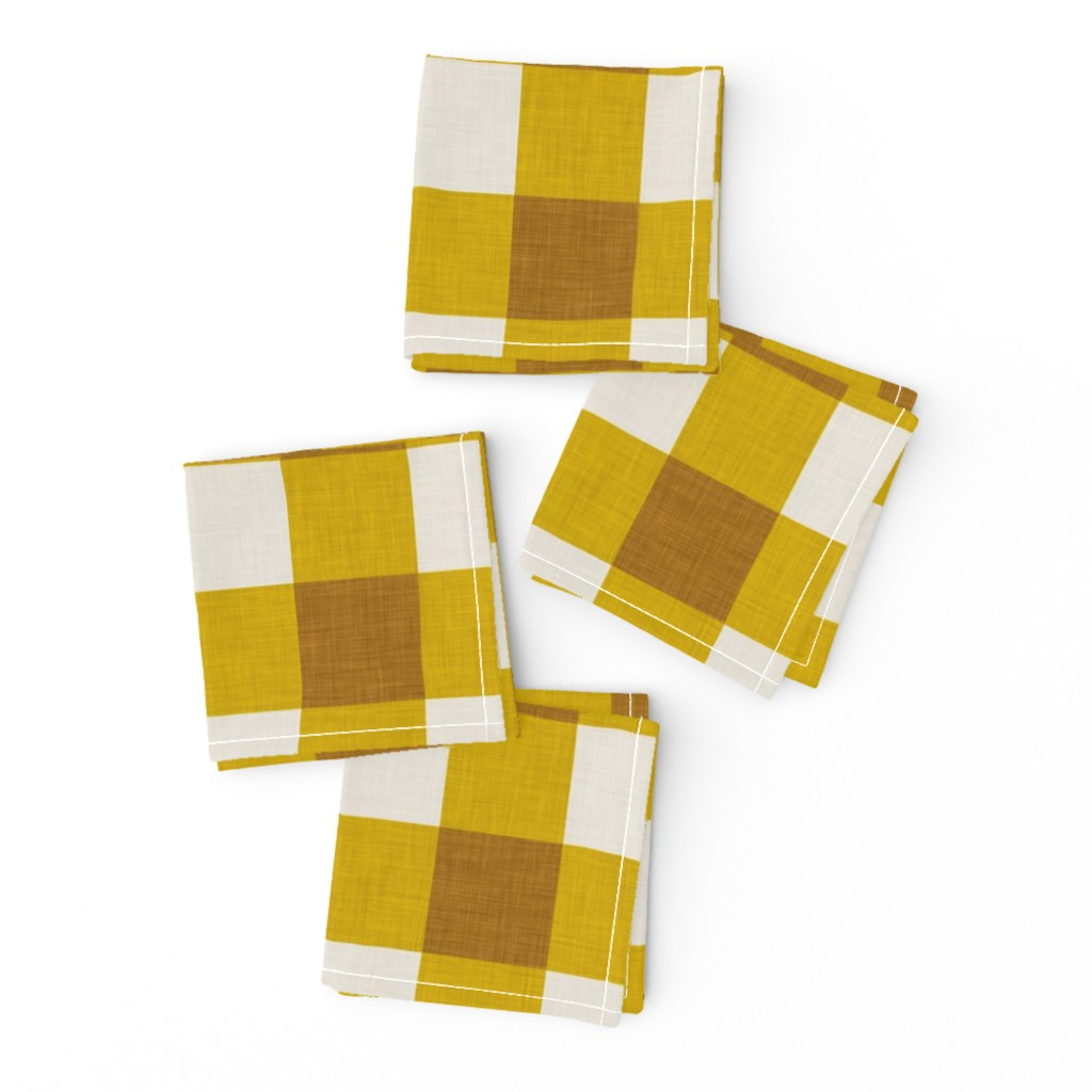 Frizzle Cocktail Napkins featuring gingham mustard by holli_zollinger