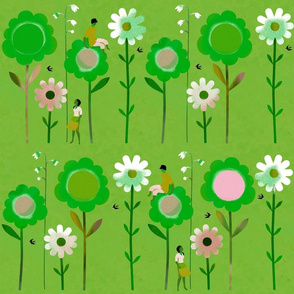 Big Flowers with Boy & Girl in Green