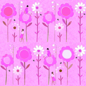 Big Flowers with Boy & Girl in Pink