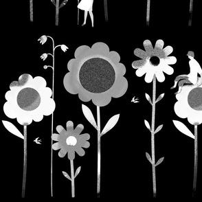 Big Flowers White on Black XL