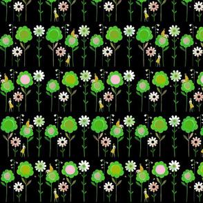 Big Flowers 2 Green on Black XL
